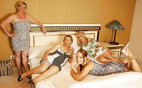 Four older and youthful lesbos having a sensational soiree