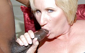 Horny mama getting 2 ebony stiffys at once