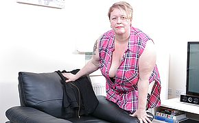 Horny mature Plus size frolicking with herself