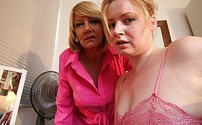 Nasty aged and youthful lezzie duo from the UK get moist