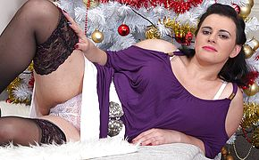 <b>Naughty</b> housewife jerking under the christmas tree