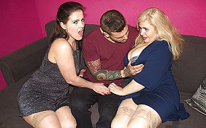 Spanish housewives Montse Swinger and Musa Libertina having a 3 way