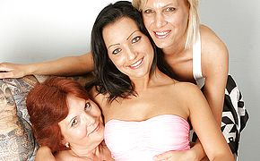 Three older and youthful <b>lesbian</b>s enjoy to get moist