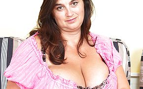 Immense large boobed mama toying with herself