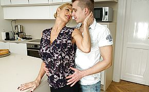 Insatiable mature mega <b>slut</b> deep throating and pulverizing her plaything guy