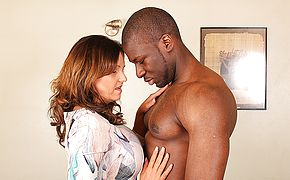 Super steamy Brit mommy cuckold on her spouse with a trussing dark hued dude