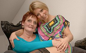 Two ultra kinky elder and youthfull lesbos do it on the sofa