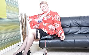 Brit mature Plumper frolicking with herself