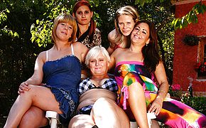 Five older and youthful lesbos go raw and super naughty