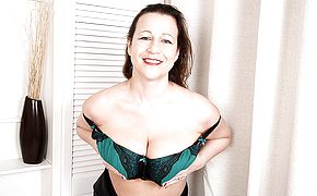 Big jugged British housewife frolicking with herself