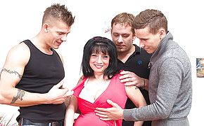 Large boobed housewife taking on 3 dudes