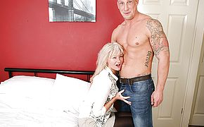 Naughty Brit housewife fooling around with her junior paramour