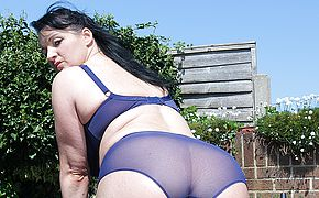 Scorching Brit housewife stroking outdoors