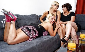 Three super naughty aged and youthfull lesbos make out on the sofa