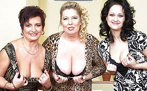 Trio large jugged housewives ravaging and blowing in Point of view fashion
