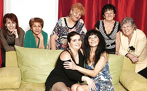 Elderly and youthful lesbos perform in a apartment utter of mature damsels