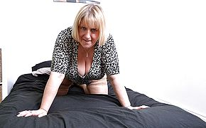 Giant jugged British housewife frolicking with herself