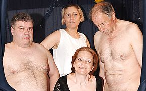 Kinky German mature gang bang