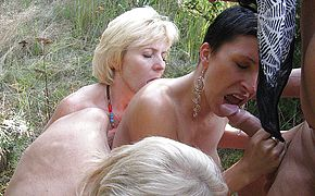 Mischievous mature <b>groupsex</b> in the forest
