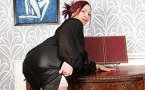 Nasty British housewife fooling around at the office