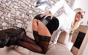 Sizzling German housewife frolicking with herself