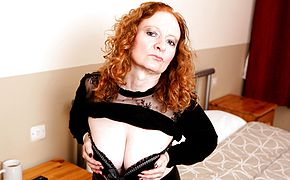 Super naughty Brit mature doll frolicking with herself