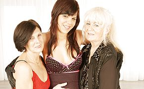 Trio insane elderly and youthful lezzies at have fun