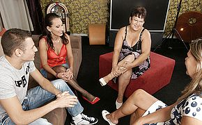 Trio mature beotches share one firm fuckpole