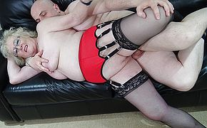 British grandma sucks her studs cock and gets fucked hard