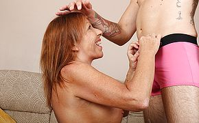British housewife blows her <b>young</b> lover and gets fucked hard