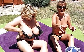 Two British housewives have hot <b>lesbian</b> sex during their vacation