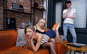 British Milf Tara Spades fucking and sucking in hot threesome with <b>young</b> couple