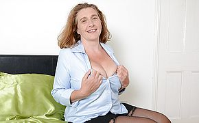 Busty British housewife playing with her tits and <b>pussy</b>