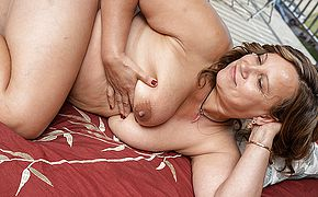 Busty housewife gets her <b>pussy</b> all wet and masturbates