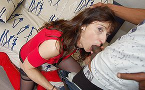 French Milf sucks a big black cock and takes it in her <b>ass</b> and pussy
