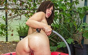 Horny American housewife playing with her <b>pussy</b>