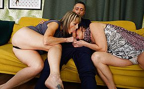 Horny British housewife takes it up the <b>ass</b> in hot threesome with her girlfriend and their stud