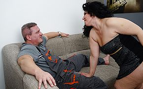 Horny housewife sucking and <b>fucking</b>