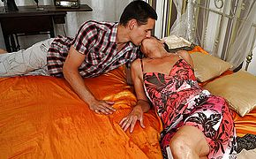 Horny mature lady fucking with her <b>toy boy</b>