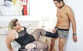 Huge breasted BBW Sophia Lola fucking a <b>toy boy</b>