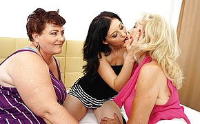 3 insane mature lezzies making out on the couch