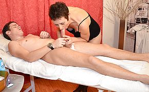Kinky French housewife has her pussy shaved while blowing her <b>young</b> stud and gets fucked hard