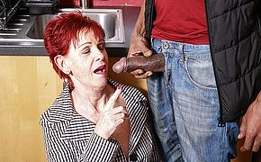 Naughty British mature <b>lady</b> gets a big hard black cock to please her