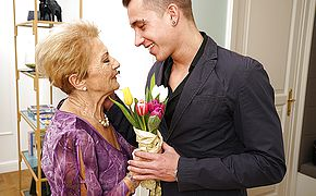 Naughty granny gets a visit from her <b>toy boy</b>