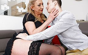 Naughty toyboy gets to enjoy a hairy mature <b>pussy</b>