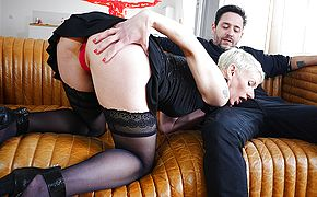 Sexy French Milf sucks a big cock and takes it up her <b>ass</b>