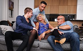 <b>Sexy</b> hairy housewife gets fucked in both holes by three guys and all her boyfriend can do is watch