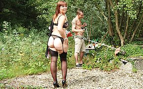 Sexy Milf blows her <b>young</b> gardener and gets her pussy thumped
