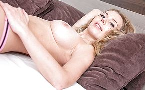 Sizzling sizzling mummy tonguing on a thick rock hard salami