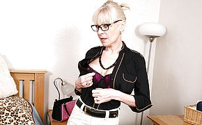 Super naughty British mature female getting crazy